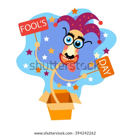 Fool Day Comic Crazy Clown Head In Surprise Box April Holiday Greeting Card Banner Flat Vector Illustration - stock vector