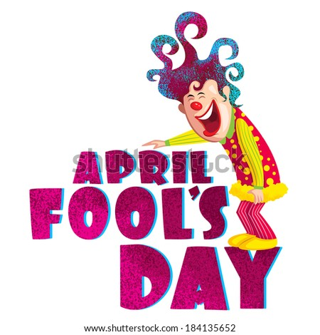 Fool's Day illustration concept with clown - stock vector
