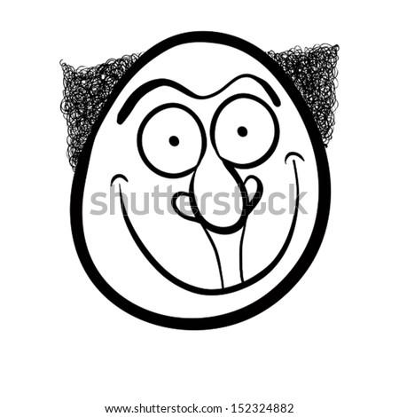 Foolish cartoon face, black and white vector illustration. - stock vector
