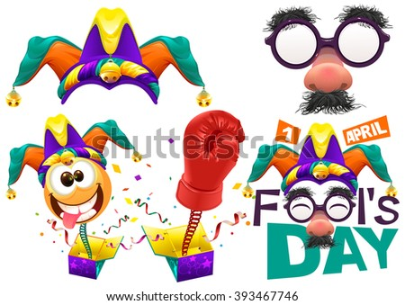 Fools cap smile on spring. Funny glasses nose. April Fools Day lettering text for greeting card. 1 April Fools Day. Isolated on white vector illustration - stock vector