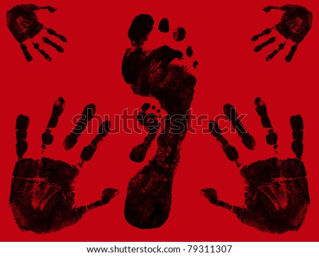 Foot and hand prints on red background, vector illustration - stock vector