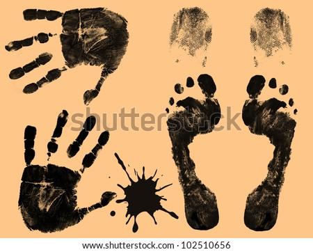 Foot, finger and hand prints on orange background, vector illustration - stock vector