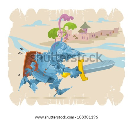 Foot knight in battle. Cartoon, 2, vector - stock vector