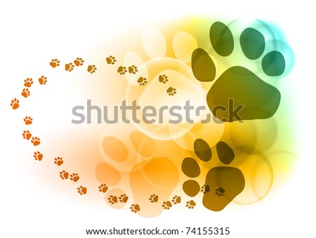 Foot mark on the color background - stock vector