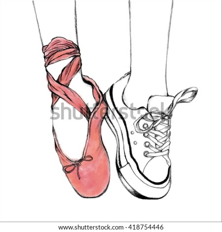 Foot wear pink ballet shoes and white sneakers. Hand drawn illustration. Line art of lifestyle and hobbies. Vector Illustration of pointing shoes. - stock vector