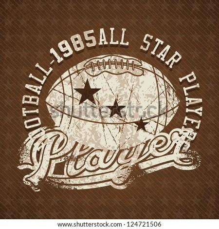 Football 1985 all stars player vintage insignia. Vector illustration - stock vector
