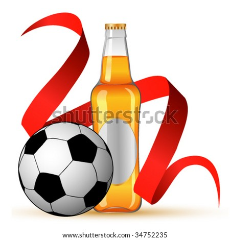 Football and beer icon - stock vector