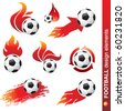 football and fire design elements - stock vector