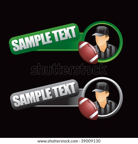 football and referee in tilted green and gray tabs - stock vector