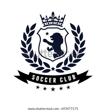 Nice Football And Soccer Logo Design Template With Lion And Crests Symbol.