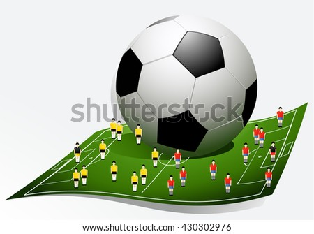Football background with cartoon players - stock vector