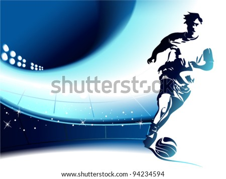 Football background with player - stock vector