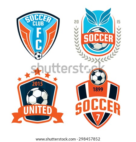 Football badge logo template design,soccer team,vector illustration - stock vector