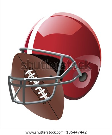 Football ball and helmet - stock vector