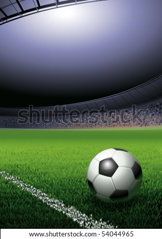 Football ball on the grass on the stadium with lights, vector illustration with copy space - stock vector