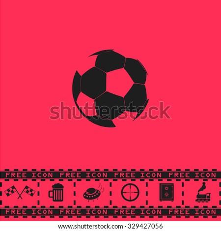 Football ball - soccer. Black flat vector icon and bonus symbol - Racing flag, Beer mug, Ufo fly, Sniper sight, Safe, Train on pink background - stock vector