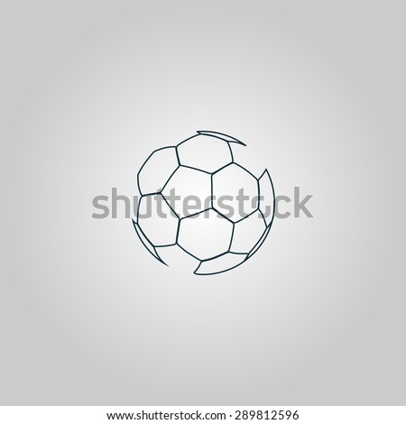 Football ball - soccer. Flat web icon, sign or button isolated on grey background. Collection modern trend concept design style vector illustration symbol - stock vector