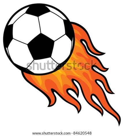 football ball (soccer) in fire - stock vector