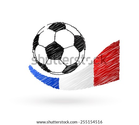 Football ball with France flag scribble effect - stock vector
