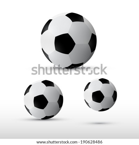 Football Balls Illustration Set Isolated on Grey Background - stock vector