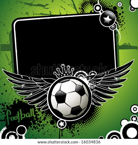 Football banner, ball with wings and stars on a grunge background - stock vector