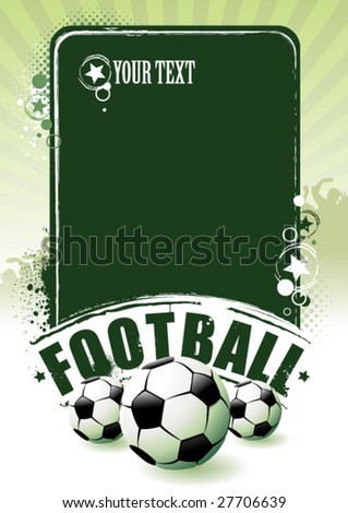 Football banner with the balls on a green background - stock vector