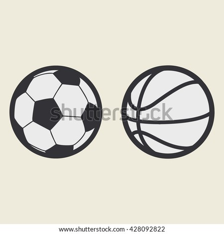 Football, basketball balls. flat vector, icon sport - stock vector