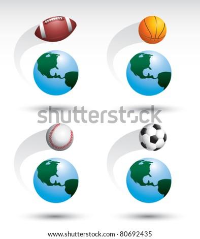 Football, basketball, baseball, and soccer ball around the world - stock vector