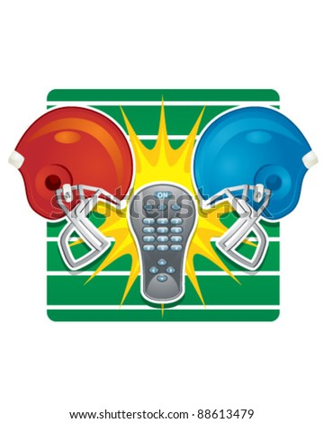 Football Bowl Games and TV Remote - stock vector