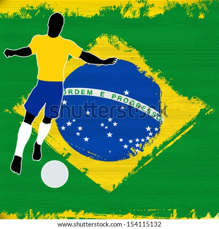 Football Brazil, Vector Soccer player over a grunged Brazilian Flag - stock vector