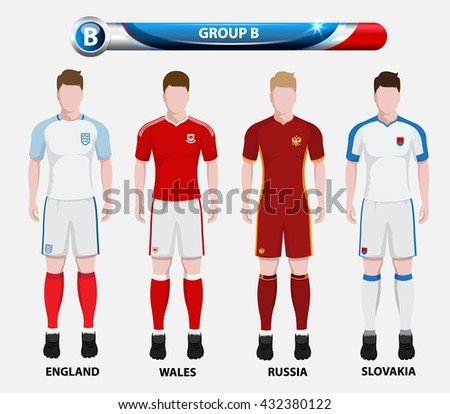 Football Championship Infographic, Soccer Players GROUP B. Football jersey. - stock vector