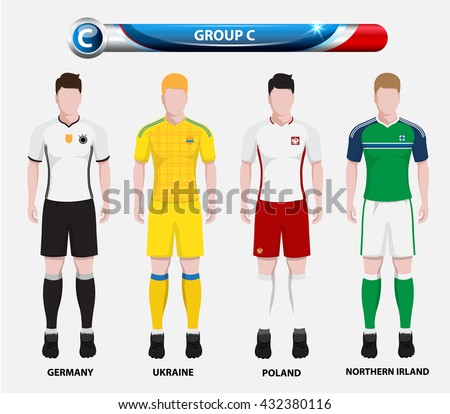 Football Championship Infographic, Soccer Players GROUP C. Football jersey. - stock vector