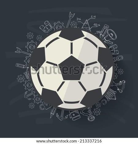 Football concept design on blackboard background,clean vector - stock vector