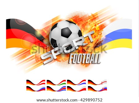 Football design over orange background, ball and text, Germany vs Poland Ukraine Hungary Slovakia England Holland Russia - stock vector