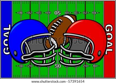 football design with field and team helmets - stock vector