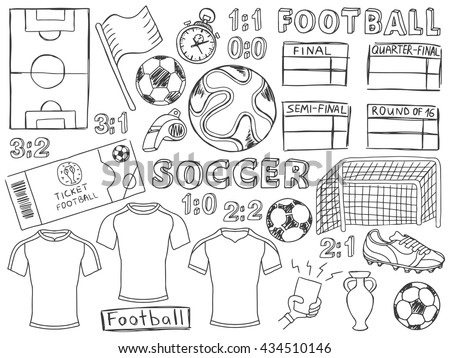Football doodles set. Soccer pencil effect sketches. European football theme sport elements. France soccer. Football championship. Football doodles. Brazil football. Doodles set. Soccer doodles. - stock vector
