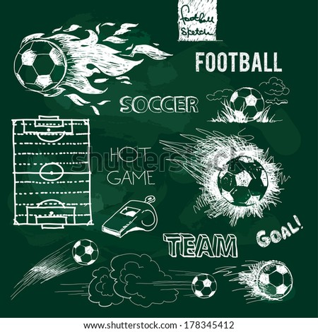 Football elements and ball on green chalkboard. Vector sketch. - stock vector