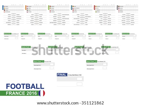 Football 2016, Euro 2016 Match Schedule, all matches, time and place. Soccer 2016. Country Flags. Size A2. - stock vector