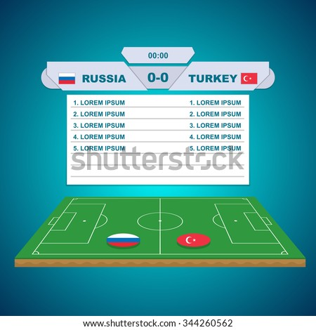 football field in 3D. table with a score and a list of goals. Blue background - stock vector