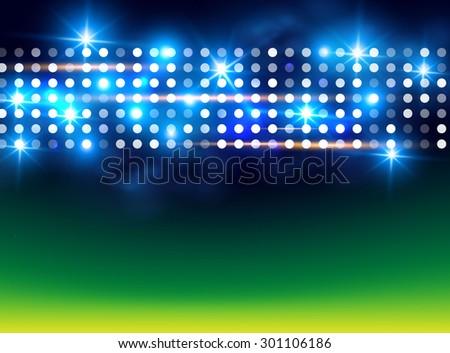 Football field. Sport illuminated background. Vector illustration - stock vector