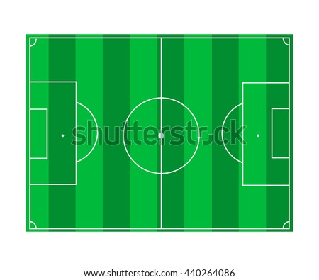 Football field with green surface and white markings isolated on white background
