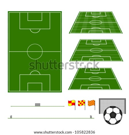 Football Fields with Sections - stock vector