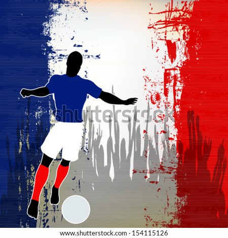 Football France, Vector Soccer player over a grunged French Flag and cheering crowd - stock vector
