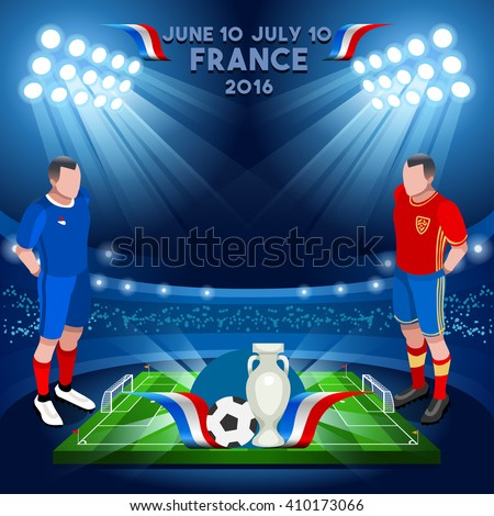 Football Game Infographic France European Championship Soccer Players. Final qualified countries Soccer Player. Europe Tournament group stage participating teams. Isometric 3D Football Players. - stock vector