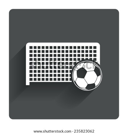 Football gate and ball sign icon. Soccer Sport goalkeeper symbol. Gray flat square button with shadow. Modern UI website navigation. Vector