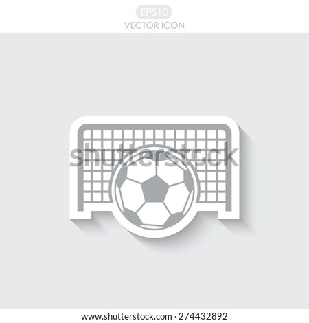 Football gate and ball vector icon. Soccer Sport goalkeeper symbol.