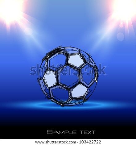 football grunge poster with a ball - stock vector