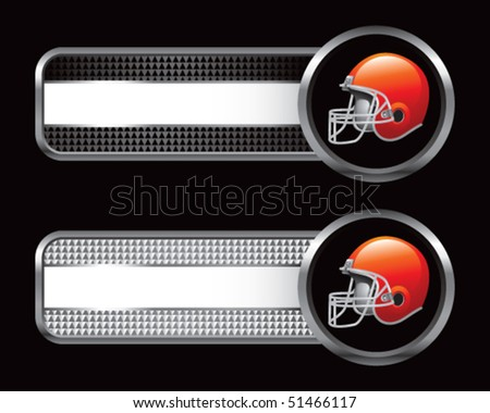 football helmet black and silver checkered tabs - stock vector