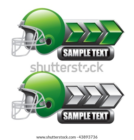 football helmet green and white arrow nameplate banners - stock vector