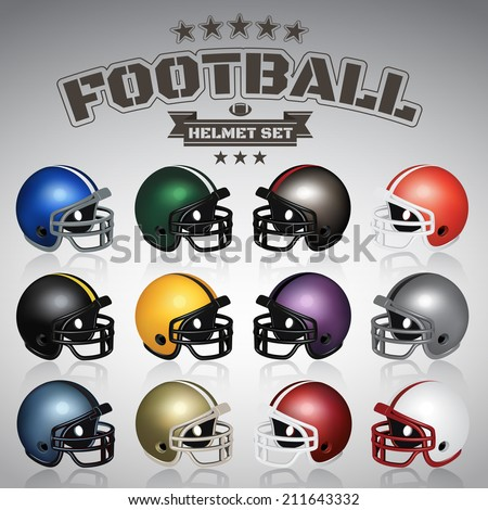 Football Helmet Set - stock vector